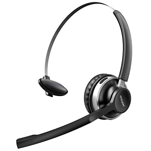 Mpow HC3 Truck Driver Headsets, V5.0 Bluetooth Headset with Dual Mic Noise Canceling, Hands-Free Wireless Earpiece for All Day Comfort, Wired On Ear USB Headset for Office/Call Center/Cell Phone