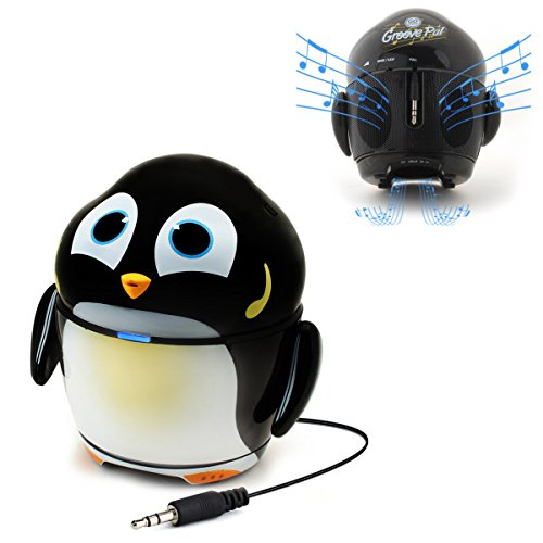 Cute Animal Rechargeable Portable Speaker with Passive Subwoofer (Groove Pal Penguin) Speaker for Kids by GOgroove - Stereo Drivers, Retractable 3.5mm AUX Cable - Plug Into Tablets, Phones, more (Penguin Pals)
