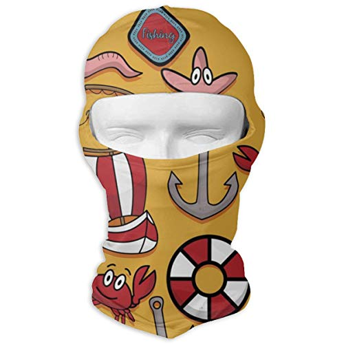 - JJKYL Fishing Crab Lifebuoy Boat Vector Image Full Face Mask Hood Sunscreen Mask Cycling Hunting Hiking Skiing Mask Dual Layer Cold for Men and Women