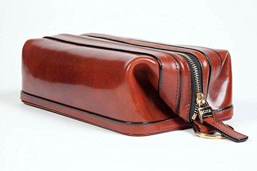 Old leather 10'' Zipper travel utilikit cognac by Kaliandee