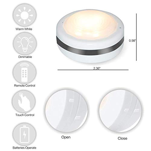 Puck Lights With Remote, Starxing Wireless Led Puck Lights Battery Operated, Led Puck Lights With Remote Control, Led Under Cabinet Lighting, Dimmable Closet Light, Battery Powered, 4000K Natural Whit by Starxing (Image #4)