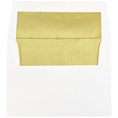 JAM PAPER A2 Foil Invitation Envelopes - 4 3/8 x 5 3/4 - White with Gold - 25/Pack
