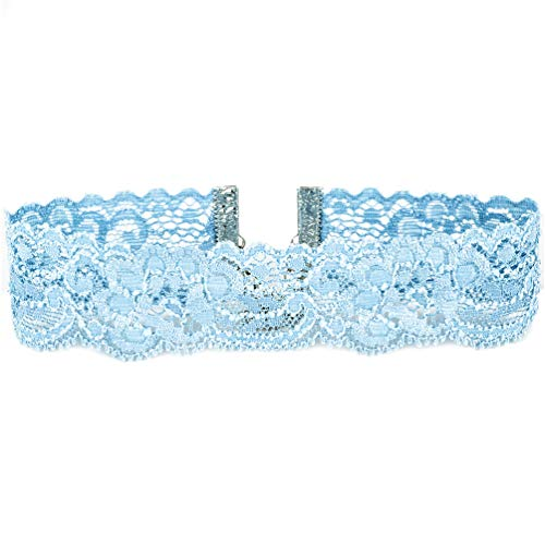 (Twilight's Fancy Floral Elastic Stretch Lace Choker Necklace (Light Blue,)