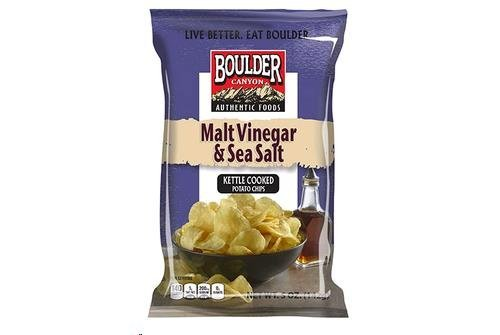 Boulder Canyon Avocado Oil Canyon Cut Kettle Cooked Potato Chips, Malt Vinegar and Sea Salt, 5.25 Ounce (Pack
