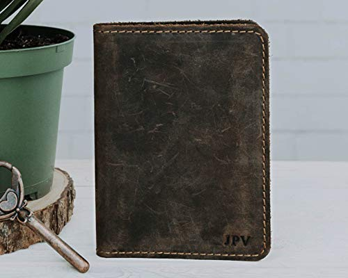 (Pegai Personalized Passport Wallet, Distressed Leather Travel Wallet, Handcrafted Soft Leather Passport Holder, Rustic Passport Cover - Pike Chestnut Brown)