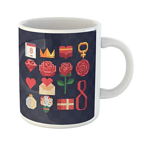 (Tarolo 11 Oz Mug Coffee Mug Ceramic Tea Cup 8 March Celebration Rose Pixel Happy Women Day Holiday Greeting Letter Number Eight Symbol Mother for Valentine Large C-handle Family and Office Gift )