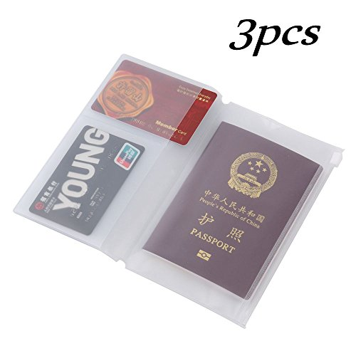 Traveler's Notebook Inserts Refill Personal Size,A Set of 3 Made of Transparent Plastic with 2 Card Slots 6.5