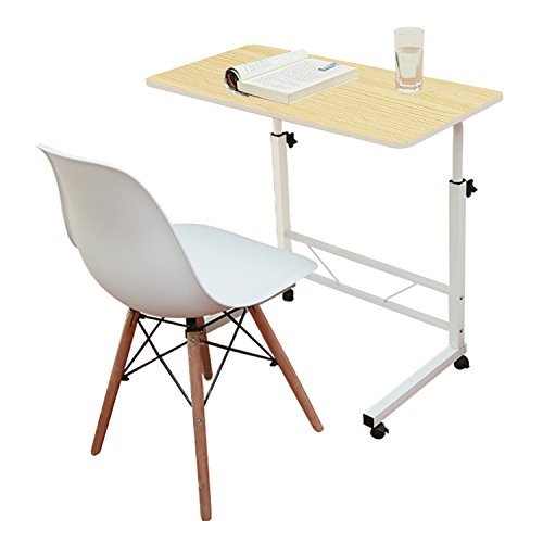 (Jerry & Maggie - Adjustable Height Desk Laptop Desk Movable Bedside Table Lapdesk with 4 Wheels Flexible Wooden Stand Desk Cart Tray Side Table - Light Wood Tone)