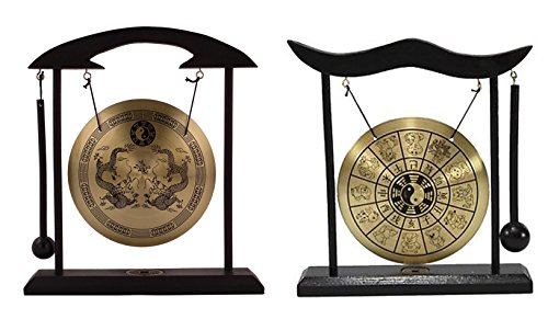 - 6goodeals, MULTI-SET Feng Shui Zen Art Brass Gong with Wooden Stand for Home Decor, Desktop Wind Chime ~ USA SELLER! (2, Dragon + Chinese Zodiacs)