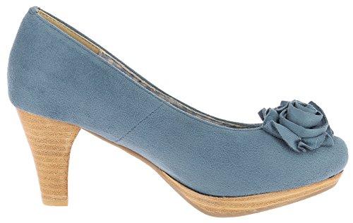 HIRSCHKOGEL Damen Pumps 3000518 Dirndlschuhe Trachtenschuhe Oktoberfest Blau (Jeans)