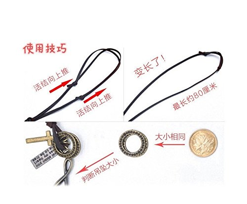 Generic Literary retro copper pendant leather rope necklace simple summer paragraph women girls lady sweater chain animal trinkets to take short sleeve pendant