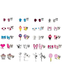 20 Pairs Small Cute Cartoon Multiple Candy Cake Pink Heart Animals Butterflies Ballerina Bows Stud Earrings Set