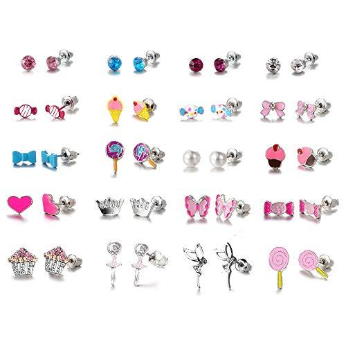 Ainiya 20 Pairs Multiple Stud Earrings For Women Girls Cute Animal Face Crystals And Faux Pearl Earrings - Birthday 14k Cake