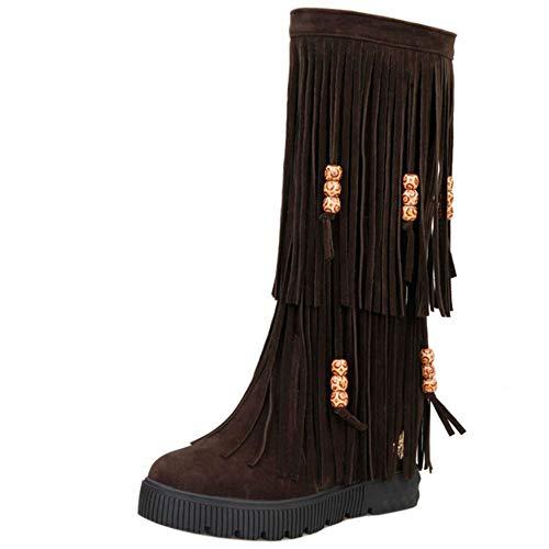 Mujer Fringe Cuña de Medias Shoes Marron On Pull Zanpa Tacon Clásico Botas 67qxHwH