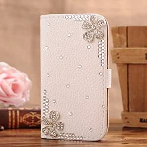 """S-Coach 5.5"""" iPhone 6 Plus Bling Diamond Folio Leather Case Cover With Card holster & Magnetic Horizontals Flip - a pair of Flower"""