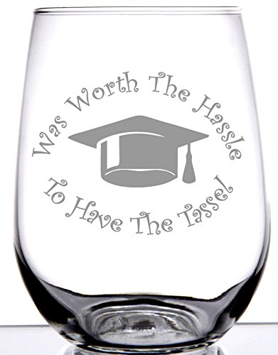IE Laserware Graduation Was Worth the Hassle to Have the Tassel! 17 oz Stemless Etched Wine Glass -