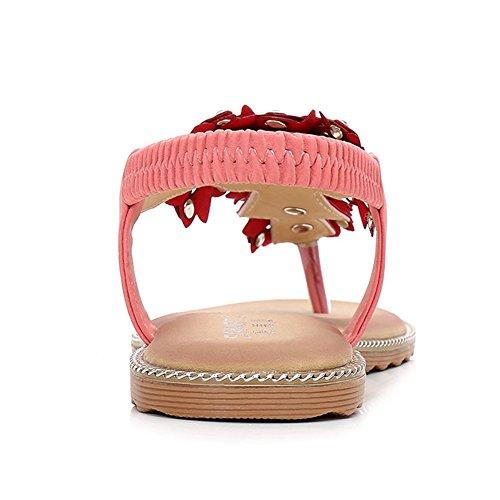 Comfy Sandals Pink Slip Shoes Womens Flower On Flats Summer Bohemian Beach Sandals Rhinestone Angelliu 51qgnO