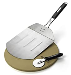 CPS-445 Features: -Set includes pizza stone, pizza peel and pizza cutter. -Material: Stainless steel. -Preheat pizza stone on top of grill in 15 minutes. -Pizza peel and pizza cutter material: Stainless steel. -Pizza cutter has easy grip hand...