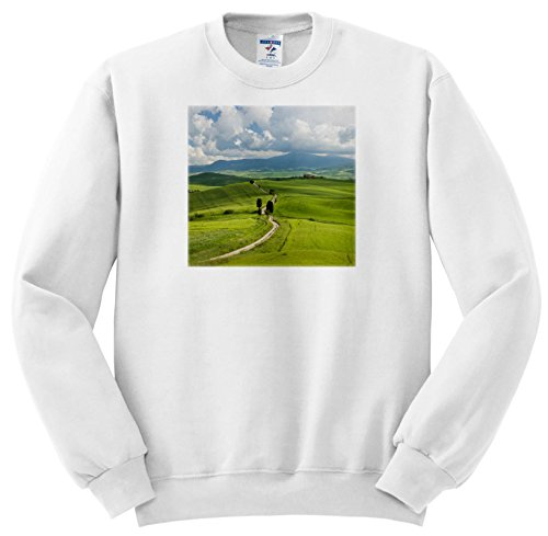 3dRose Danita Delimont - Agriculture - A Country Road Through Rolling Hills Of Wheat, Pienza, Tuscany, Italy - Sweatshirts - Adult Sweatshirt 4XL - Field Road Hill