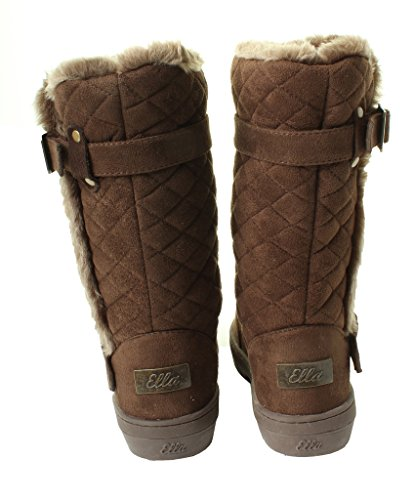 Ella Ladies Womans Brown Black Chestnut Beige Tan Winter Snow Comfy Flat Ankle Knee Calf High Fur Lined Hard Sole Boots Sizes Quilted Brown 5KoMjf