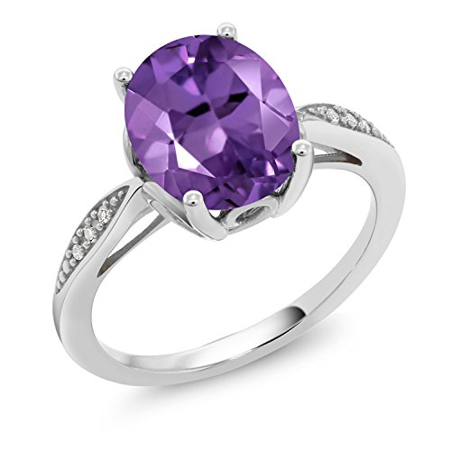 Gem Stone King 2.24 Ct Oval Purple Amethyst White Diamond 14K White Gold Ring (Size 9)