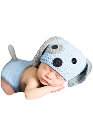 Melondipity Baby Blue and Grey Puppy Dog Hat and Diaper Cover SET for Newborn Boys