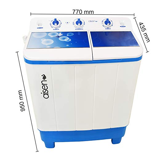 Aisen 7.0 Kg Semi-Automatic Top Loading Washing Machine with Toughened Glass (A70SWT610/630) - Blue, Wave Pulsator, Heavy Duty Motor)