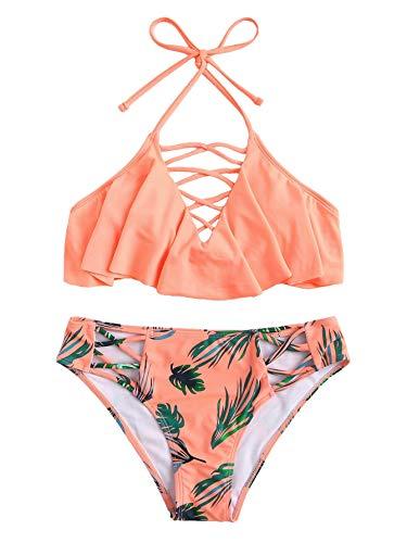 (SweatyRocks Women's Swimsuit Adjustable Halter Floral Print Criss Cross Floerns Hem Bikini)