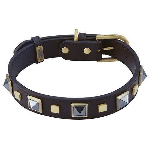 Hematite Rock & Roll Leather Dog Collar - Extra Large