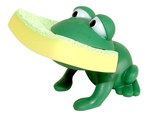 Dependable Products Animal Shape Novelty Kitchen Sponge Holder and Sponge Choice of Frog or Duck (Green Frog)