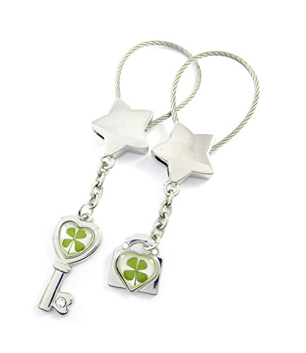 Genuine Four-leaf Lucky Clover Crystal Amber Engravable Key Chain, Valentines Keychains, Love Key and Heart Lock, Open Your Heart ! (1. Lucky Stars)