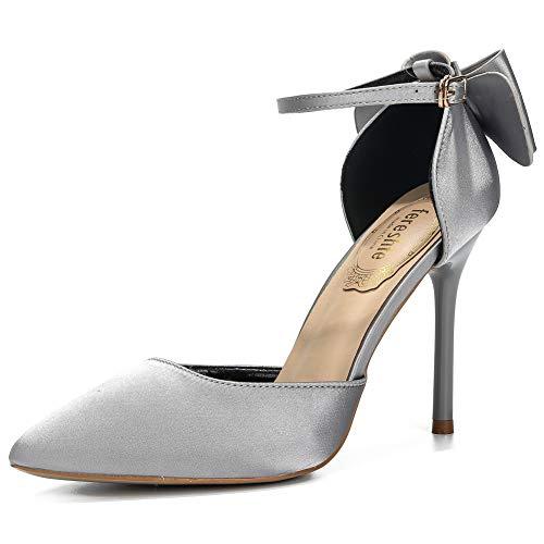 (fereshte Women's D'Orsay Pointy-Toe Bowknot Wedding Pumps Ankle Strap Stiletto Heels Satin EU37)