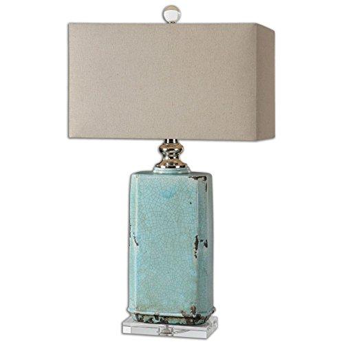 Turquoise Crackled Ceramic Table Lamp   Aqua Ceramic Distressed
