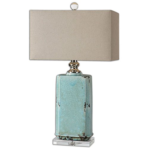 Shabby chic table lamps amazon turquoise crackled ceramic table lamp aqua ceramic distressed mozeypictures Images
