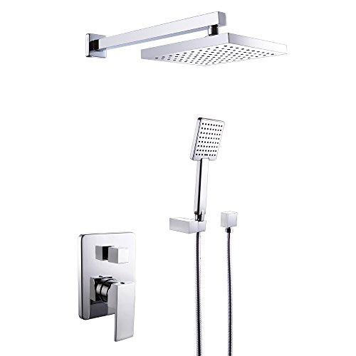 kes x6223 bathroom single handle shower faucet trim valve body hand shower complete kit modern square polished chrome