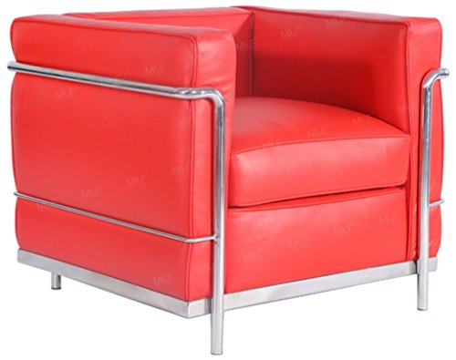 MLF Le Corbusier Style Sofa Armchair, Aniline Leather, Red