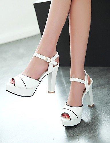 LFNLYX Zapatos de mujer-Tacón Robusto-Punta Abierta-Sandalias-Exterior / Vestido / Casual-Semicuero-Azul / Rosa / Blanco Pink