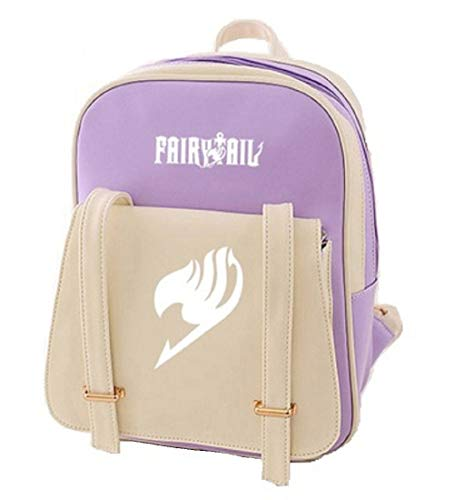 Siawasey Fairy Tail Anime Natsu Dragneel Cartoon Backpack Shoulder School Bag (Purple)