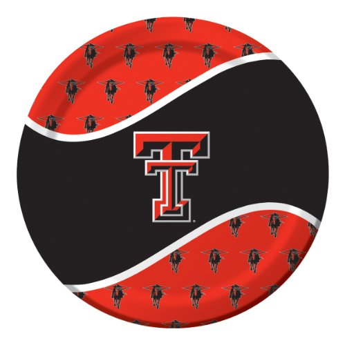 8-Count Round Dinner Paper Plates, Texas Tech Red Raiders