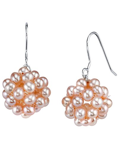 THE PEARL SOURCE 3-4mm Genuine Pink Freshwater Cultured Pearl Ivana Earrings for Women ()