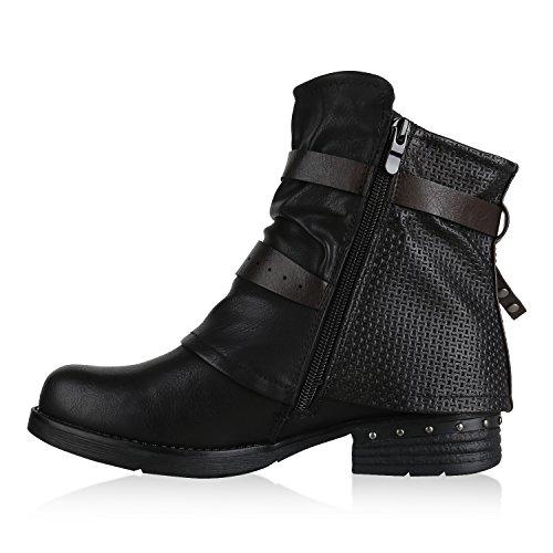 Stiefelparadies Damen Biker Boots Glitzer Stiefeletten Bikerstiefel Nieten Schuhe Flandell Schwarz Avelar