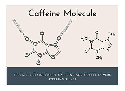 Rosa Vila Caffeine Molecule Necklace, 925 Sterling Silver, Coffee Necklace, Coffee Lover Jewelry for Women, Coffee Gifts for Women, Coffee Lovers Gifts, Mother's Day