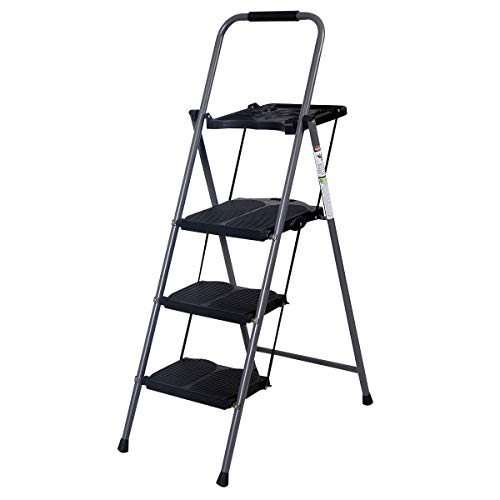 MD Group New HD 3 Step Ladder Platform Folding Stool 330 LBS Capacity Space Saving w/Tray