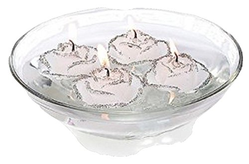 (Vivre Royale Silver Rose Candle Floaters with Glass Bowl & Stones Gift Set)