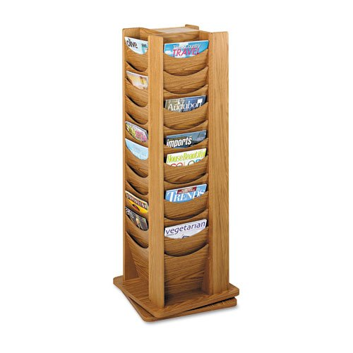 Safco : 48-Pocket Rotary Literature Display Rack, Medium Oak -:- Sold as 2 Packs of - 1 - / - Total of 2 Each Rotary Literature Display Rack
