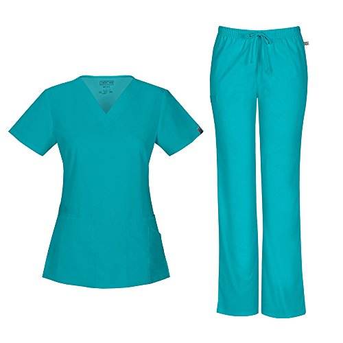 Cherokee Women's Workwear Flex With Certainty V-Neck Top 44700A & Mid Rise Moderate Flare Drawstring Pant 44101A Scrub Set (Antimicrobial) (Teal Blue - Medium) (Cherokee Set)