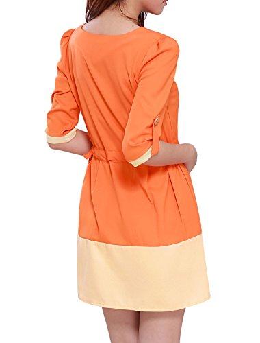 Allegra Dames K Trendy Manches 3/4 Taille Coulissée Colorblock Tenue Décontractée D'orange