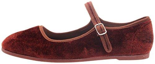 TT Footwear Women's Casual Dress Fashion Velveteen Mary Jane Flats Adjustable Brown 7