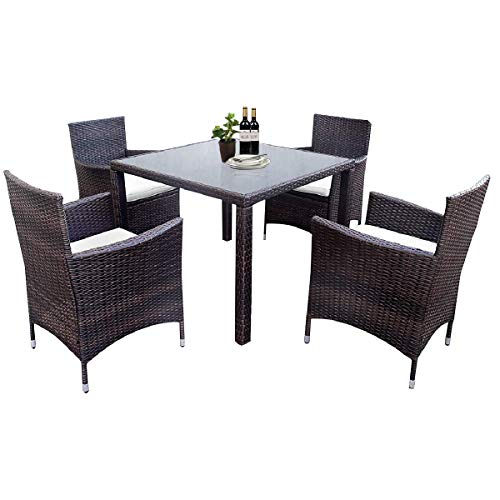 - LZ LEISURE ZONE 5 Pieces Patio Dining Set Outdoor Rattan Dining Furniture Sets Garden Conversation Set with 4 Wicker Chairs and Glass Table