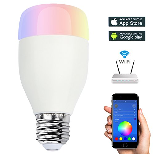 Smart WiFi Bulb Colorful Wireless Bluetooth LED Light Smartphone APP Controlled Wake Up Lamp - Dimmable Multicolored Color Changing LED Nightlight for Home Office Party Baby Kids Children (Gu10 Hue Starter Pack)
